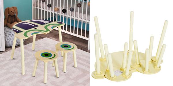 Conjunto infantil Homcom de mesa y 2 sillas de madera chollazo en eBay