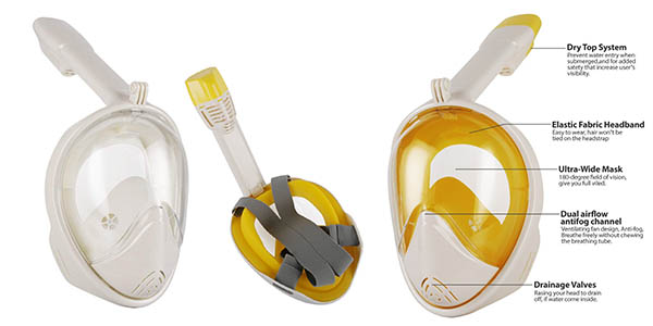 máscara de snorkel Leaningtech selladas baratas