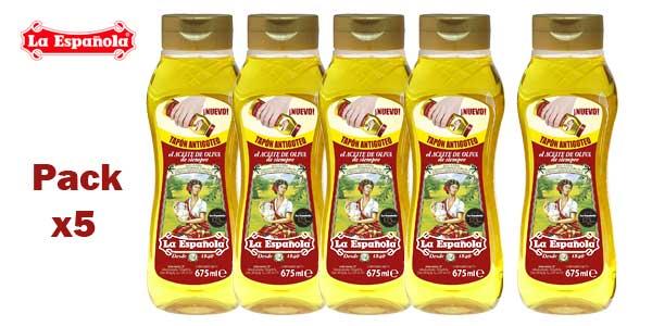Pack x5 Aceite de Oliva Suave La Española Antigoteo de 675 ml barato en Amazon