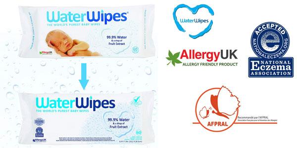 Pack 720 Toallitas WaterWipes para piel sensible de bebé chollo en Amazon