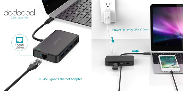 Adaptador dodocool Hub USB C con PD 6 en 1 chollazo en Amazon