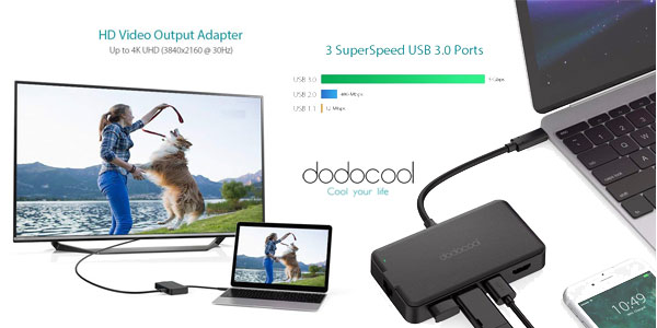 Adaptador dodocool Hub USB C con PD 6 en 1 chollo en Amazon