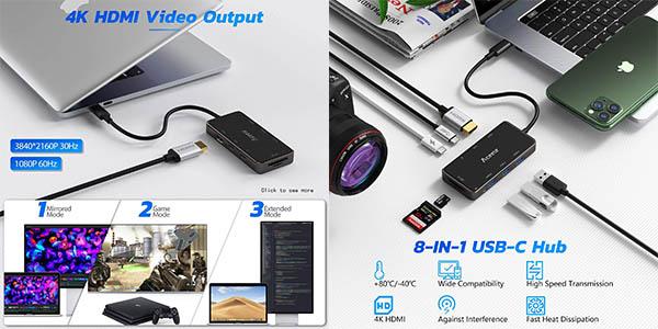 Adaptador 8 en 1 Aceele Hub USB C con PD barato