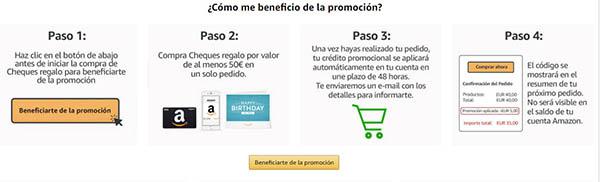 cheques regalo Amazon cupón descuento promoción enero 2019