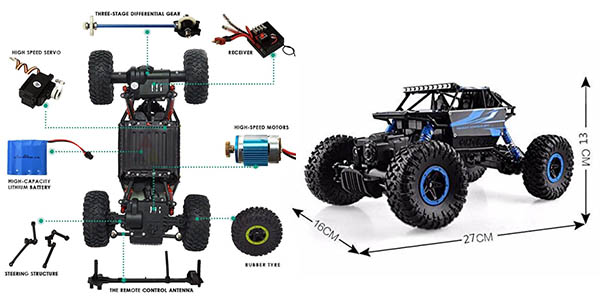 coche Rock Crawler todoterreno con control remoto chollo