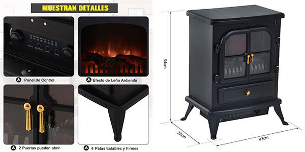 estufa chimenea eléctrica con mando a distancia oferta
