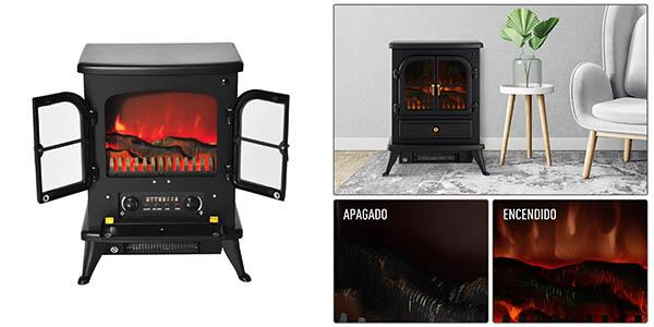 estufa eléctrica con efecto llama y termostato chollo