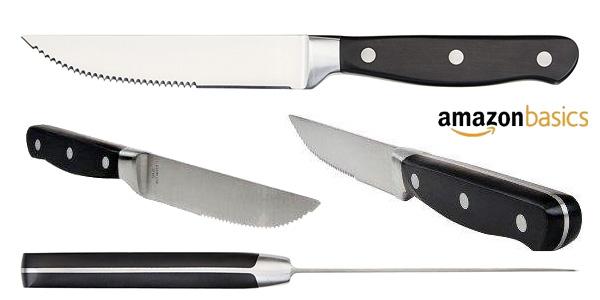 Juego de 8 cuchillos de carne AmazonBasics chollo en Amazon