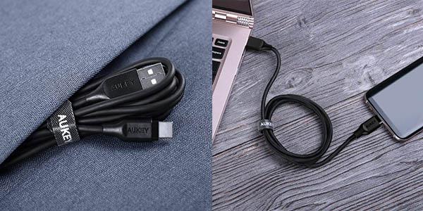 Pack de 2 cables Aukey USB Tipo C a USB A de 1 metro en Amazon
