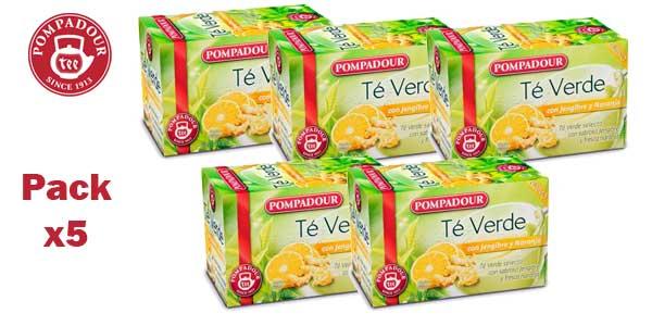 Pack x5 Te verde Pompadour Jengibre y Naranja (100 bolsitas) barato en Amazon