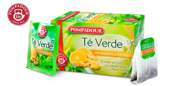 Pack x5 Te verde Pompadour Jengibre y Naranja (100 bolsitas) chollo en Amazon