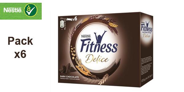 Pack 6 cajas de 6 barritas de Cereales Nestlé Barritas Fitness Delice chocolate negro baratas en Amazon