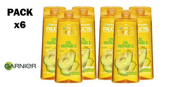 Pack x6 Champú Garnier Fructis con aceite reparador barato en Amazon