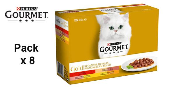 Pack de 8 cajas de 12 latas Bocaditos en Salsa Purina Gourmet Gold x85gr/ud barato en Amazon