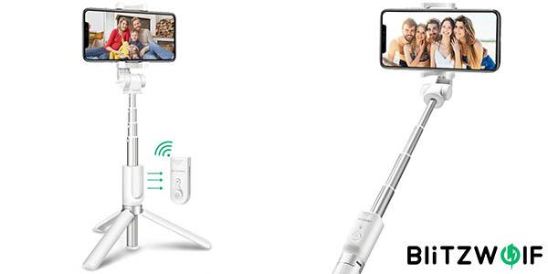 Palo selfie BlitzWolf 3 en 1 con control remoto y convertible en trípode