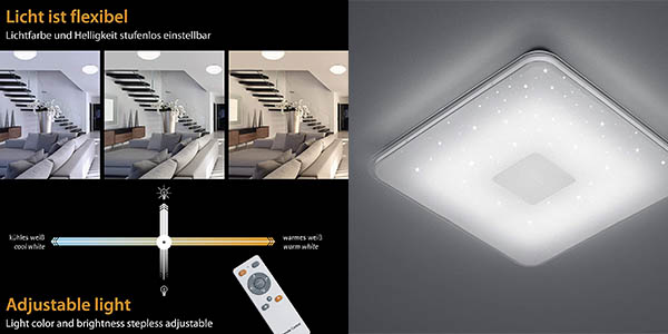 plafón LED 30W con mando a distancia Trio Samurai con relación calidad-precio genial