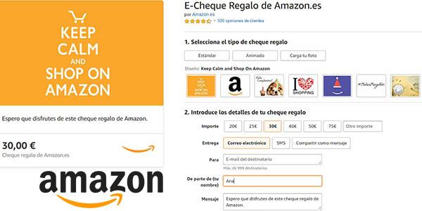 promoción Amazon España cheque regalo cupón descuento