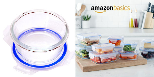 Set 20 Unidades Recipientes de cristal AmazonBasics para alimentos con tapas chollo en Amazon