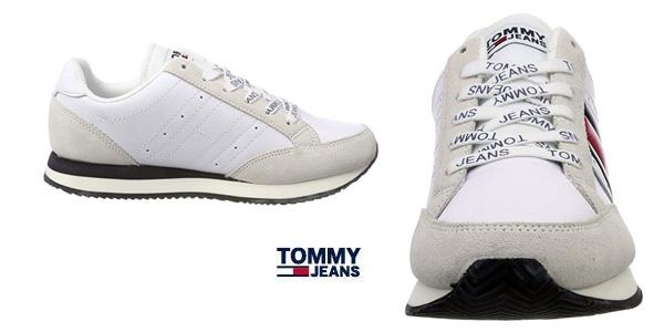 Zapatillas Tommy Jeans RWB Casual Retro para mujer blanco chollazo en Amazon