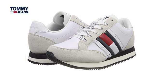 Zapatillas Tommy Jeans RWB Casual Retro para mujer blanco baratas en Amazon