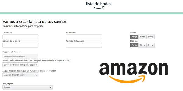 Amazon Lista de regalos de boda online