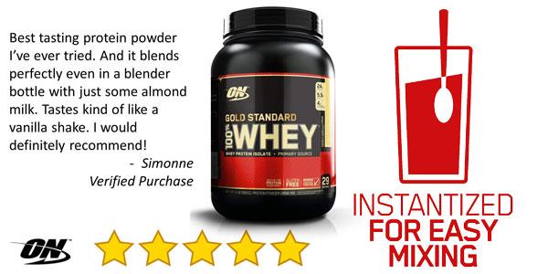 Envase Optimum Nutrition Gold Standard 100% Whey, Chocolate menta 908 gr chollo en Amazon