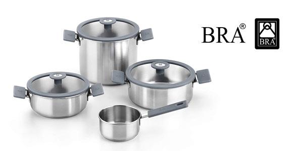 Batería de cocina de 4 piezas BRA Color Steel en oferta en Amazon