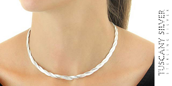 Collar de plata de ley Tuscany Silver 8.11.0913 de 41 cm para mujer chollo en Amazon