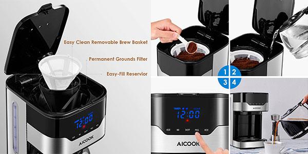 Cafetera de goteo Aicook de 900 W programable barata