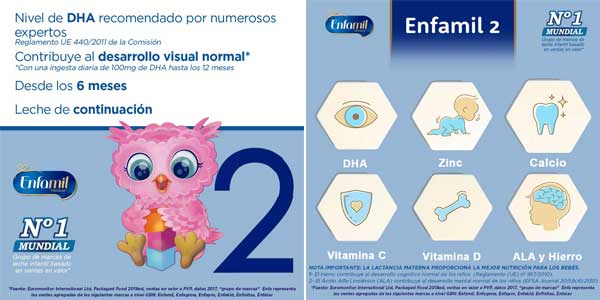 Leche infantil de Continuacion Enfamil Premium 2 para lactantes bebés de 6 a 12 Meses chollazo en Amazon