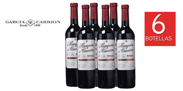 Lote 6 botellas vino tinto Marqués de Carrión Selección d.o. Rioja 750 ml/ud barato en Amazon