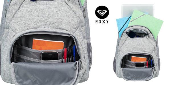 Mochila mediana Roxy Shadow Swell Solid de 24 L en gris chollazo en Amazon