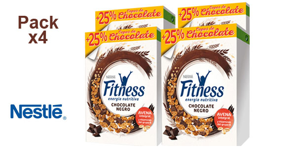 Pack x4 Cereales integrales Nestlé Fitness con Chocolate Negro barato en Amazon