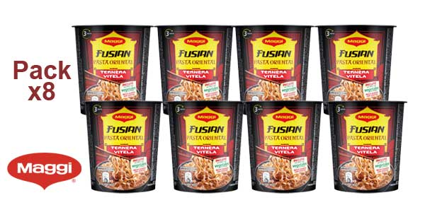 Pack x8 Maggi Fusian Pasta Oriental Noodles Sabor Ternera barato en Amazon