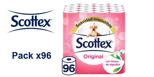 Paquete 96 rollos papel higiénico Scottex Original barato en Amazon