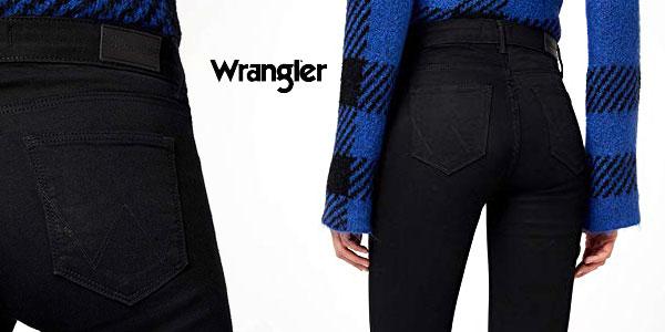 Pantalones vaqueros Wrangler Skinny Fit en negro para mujer chollazo en Amazon
