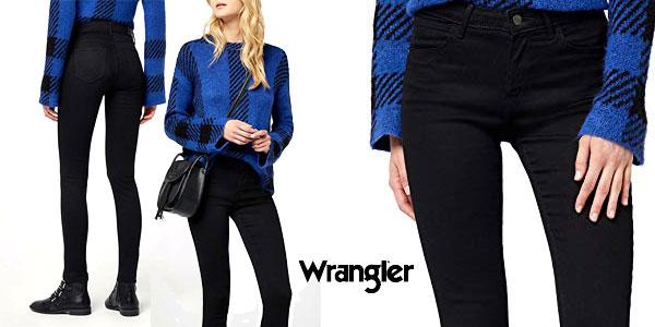 Pantalones vaqueros Wrangler Skinny Fit en negro para mujer baratos en Amazon