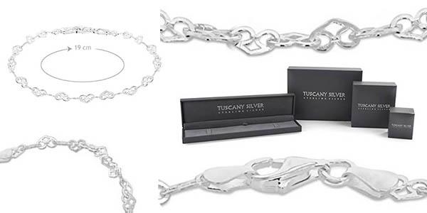 pulsera fina y elegante de plata de ley Tuscany Silver chollo