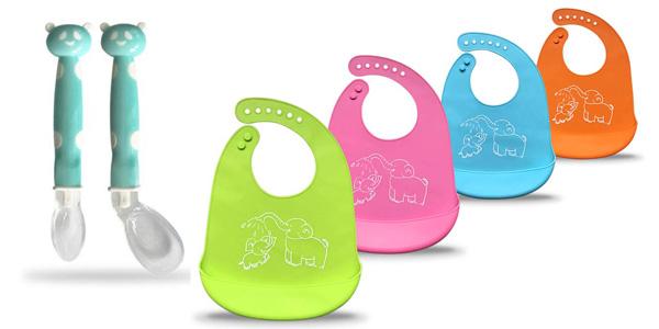 Set 4 baberos de bebé de silicona impermeable recogedores + 2 cucharas barato en Amazon