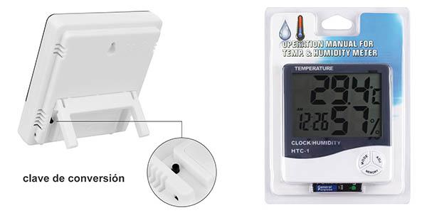 termómetro con medidor de humedad y reloj Anpro chollo
