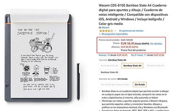 Wacom CDS-810S Bamboo Slate A4 en Amazon