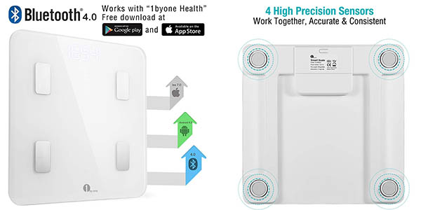 1 BY ONE Scale bácula con aplicación móvil para medición grasa corporal chollo