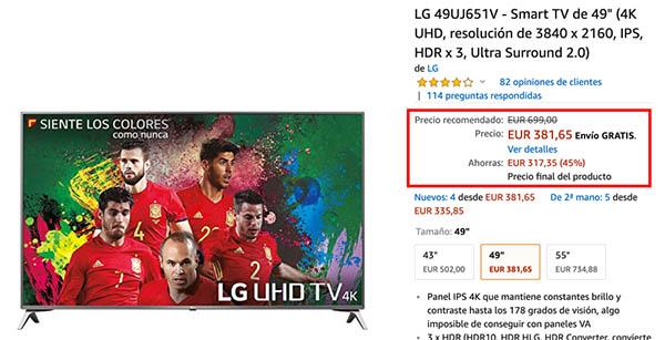 Precio en Amazon de la LG 49UJ651V