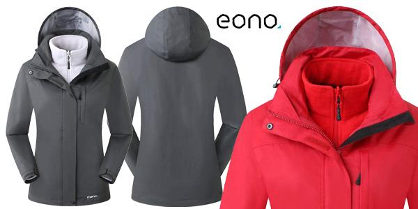 Chaqueta Eono Essentials 3 en 1 para mujer con capucha fija barata en Amazon