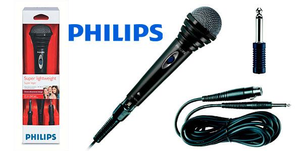 Chollo Micrófono dinámico Philips SBCMD110/00 con cable para karaoke