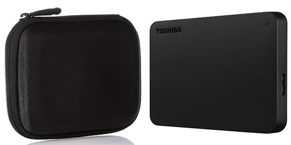 Disco duro portátil Toshiba Canvio Basics de 2 TB + Funda Amazon Basics