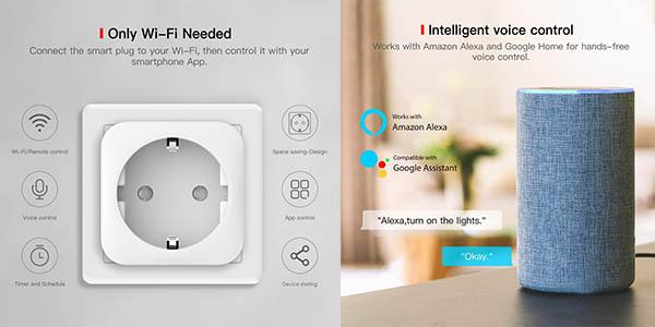 enchufe inteligente con aplicación móvil Teckin compatible con Android e iOs chollo
