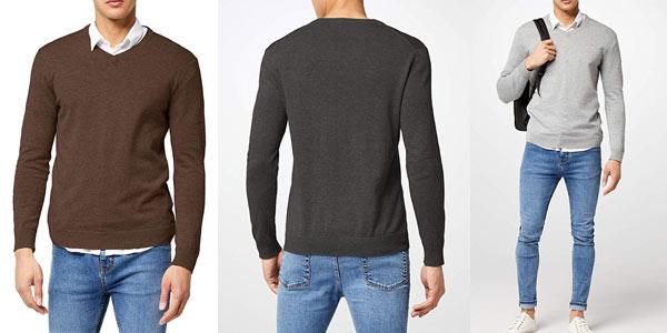 Suéter básico Esprit de cuello de pico para hombre barato en Amazon