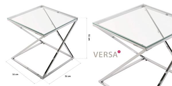 Mesa auxiliar Versa Trento de cristal/metal (51x51x51 cm) chollo en Amazon