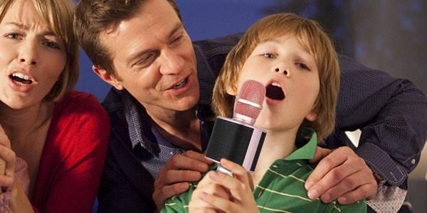 Micrófono karaoke bluetooth barato en Amazon